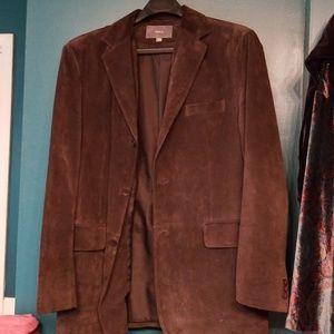 Men's dark brown suede blazer